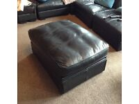 Marks & Spencer leather pouffe /single bed stool