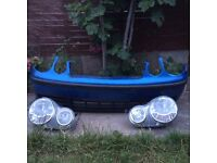 Volkswagen polo front bumper + lights blue excellent condition
