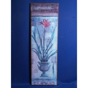 Potted Flower Print on Wood, 12 x 36 in.