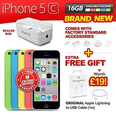NEW NEW & SEALED FACTORY UNLOCKED APPLE IPHONE 5C 16GB PINK BLUE WHITE GREEN YELLOW