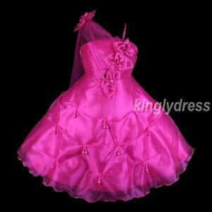 NEW-Flower-Girl-Pageant-Wedding-Bridesmaid-Princess-Dress-Fuchsia-Size-3-10-Z20
