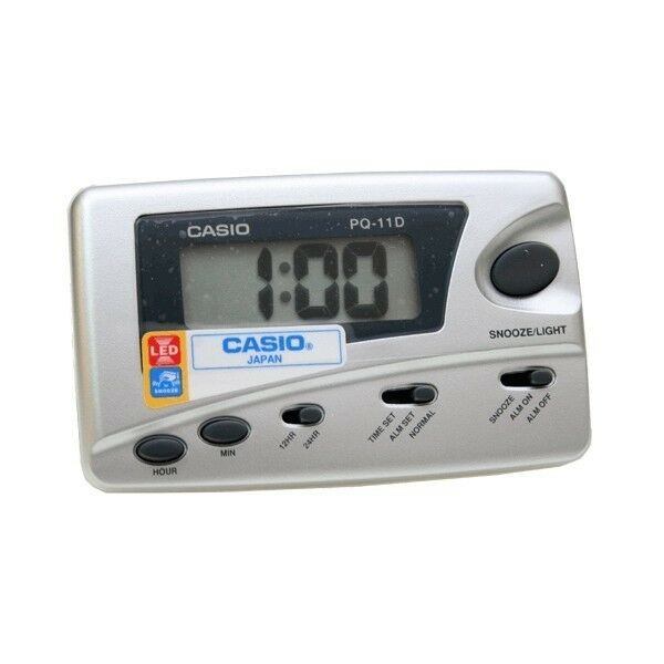 CASIO PQ-11D-8R SILVER Digital LED Travel Alarm Clock w// SNOOZE PQ11D-8RDF New
