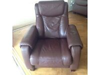 Mocha leather reclining arm chair
