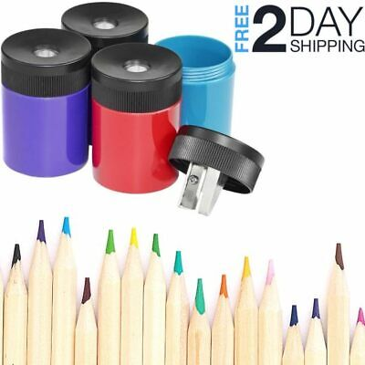 Compact Metal Pencil Sharpener Colorful Portable Screw-on Lid Office-tool School