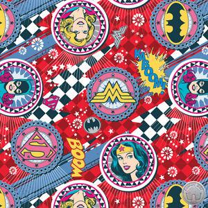 Girl Power II Ruby Badges Wonder Woman Bat Girl Super Girl DC Comics Fabric