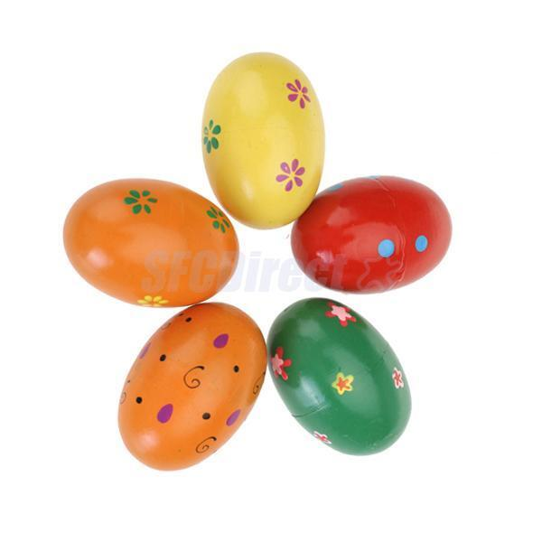 2pcs Children Baby Toys Rattles Fashion Wooden Egg Style Colourful Fun Play Gift
