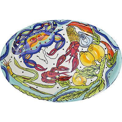 Dana Wittmann Collection   Hand Painted Seafood Oval Ceramic Platter