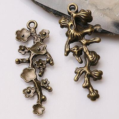(7pcs antiqued bronze color plum flower branch design charms  EF3474)