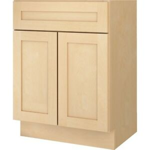Bathroom vanity base cabinet natural maple shaker 24 wide for 18 inch deep base kitchen cabinets