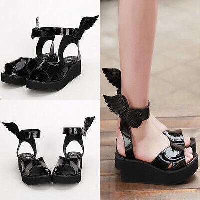 Gothic Goth Lolita Punk Wing Flügel Schuhe Shoes sandals Sandalen Cosplay Kostüm