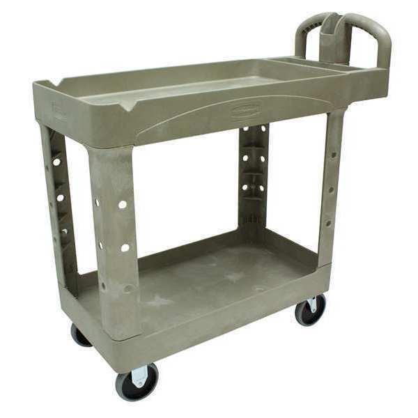 RUBBERMAID FG450088BEIG Raised Handle Deep Shelf Utility Cart 500 lb. Capacity,