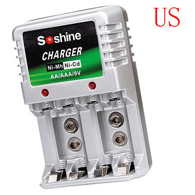 Standard Charger For AA/AAA/9V/Ni-Mh/Ni-Cd Rechargeable Battery Batteries US 9v Standard Battery Charger