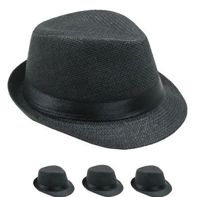 SMALL Black FEDORA HAT MEN WOMEN Straw Trilby Hat 54CM Gangster CHRISTMAS GIFT - Christmas Fedora