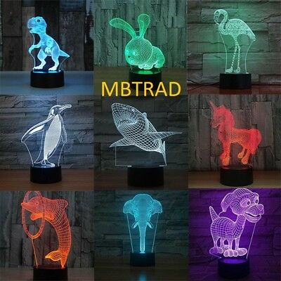 3D LED Night Light Unicorn series Remote Control LED Table Desk Lamp Home (Decorative Desk Series)