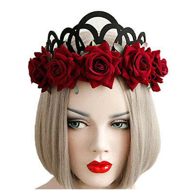 Gothic Jewelry Red Rose Crown Tiara Headband Halloween Masquerade Headdress S7W2 (Halloween Headbands)
