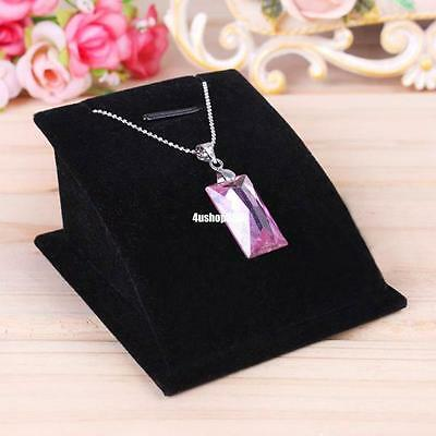 Velvet Necklace Pendant Chain Jewelry Bust Black Display Holder Stand Easel 563