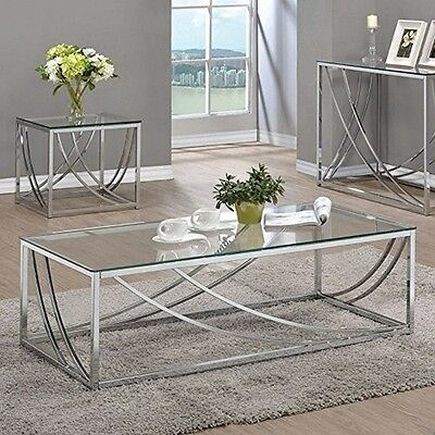 $145.00 - Coaster Home Furnishings 720498 Coffee Table Chrome NEW