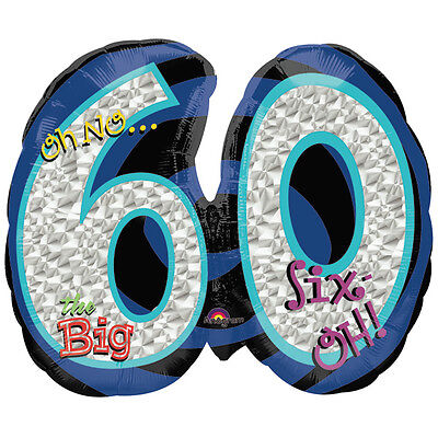 Lot of 4 OH NO The Big 60 Birthday Balloons Helium Mylar Foil Super Shape 21
