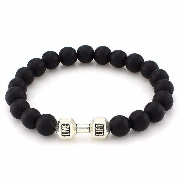 Matte Beads Dumbbell Shape Bracelet