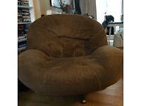 Large brown retro armchair