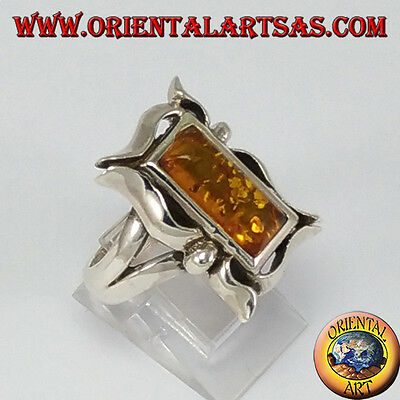 Rectangular Amber Ring - Ring d'925 silver ‰ with Amber rectangular in frame