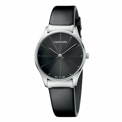 Calvin Klein Women's Classic K4D221CY 32mm Black Dial Leather Watch