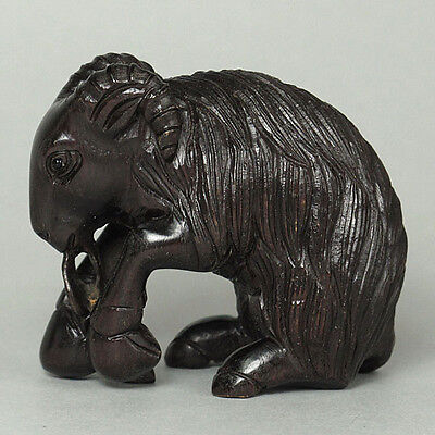 Japanese 1940's Netsuke Ebony Wood Handicrafted Zodiac Goat Carving WN162