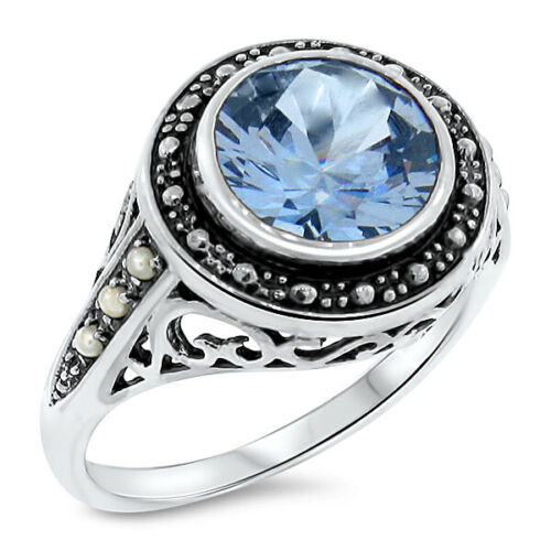 VINTAGE ANTIQUE STYLE 925 SILVER 3.5 Ct SIM BLUE TOPAZ & PEARL RING SIZE 8  #467