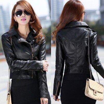 Women Slim Leather Jacket Biker Motorcycle Zipper Short Coat