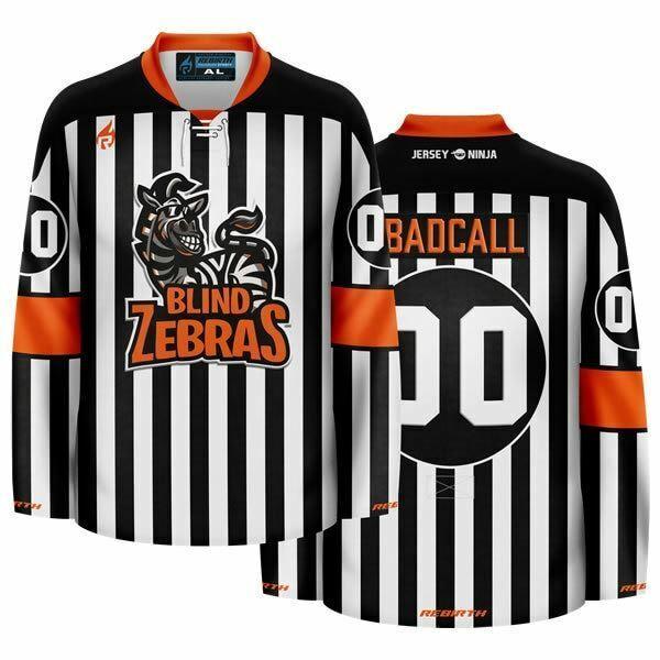 Blind Zebras Funny Hockey Jersey