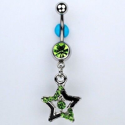 Star August Birthstone LIME GREEN Dangle Belly Button Navel Ring Jewelry (C20)