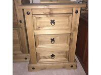 Antique pine wood rustic chunky set of drawers pair x 2 bedside cabinet cupboard