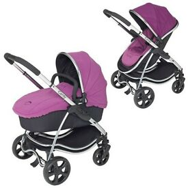 icandy Strawberry buggy with carry cot in Elderberry purple complete travel system