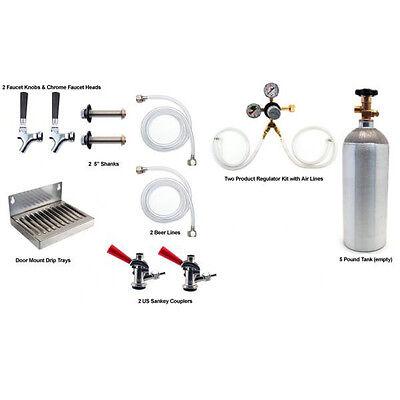 2 Tap Kegerator Kit - Draft Beer Keg Fridge Co2 Tank - Refrigerator Conversion