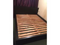 Modern black large double wooden bed frame