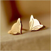 EARRINGS FOX STUDS 14 KT GOLD PLATED PLUS MORE
