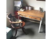 Antique Oak Restored Two Drawer Desk with Captains Chair