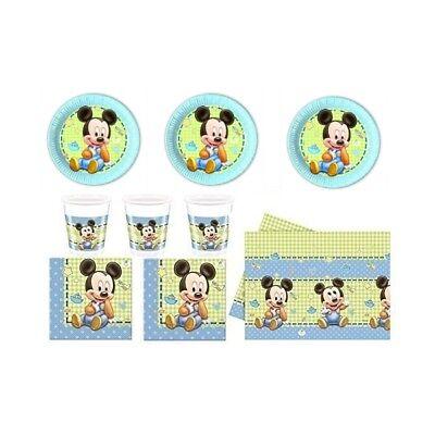 Baby Mickey Mouse Maus Party Geschirr Set Kindergeburtstag Deko 24 Gäste NEU NEW