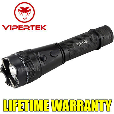 VIPERTEK VTS-195 Metal Police Tactical 230M Stun Gun Rechargeable LED Flashlight