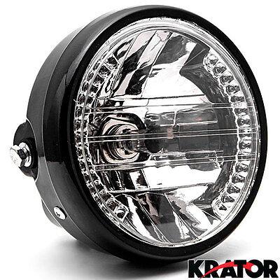 Universal Motorcycle Headlight w/ LED Turn Signals Amber Light High / Low Beam