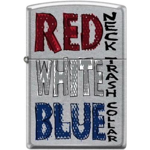 Zippo Lighter - Red Neck - White Trash Street Chrome - 854428
