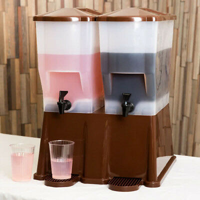 Dual Beverage (3 Gallon Brown Double Beverage / Juice Dispenser Party Catering Wedding)