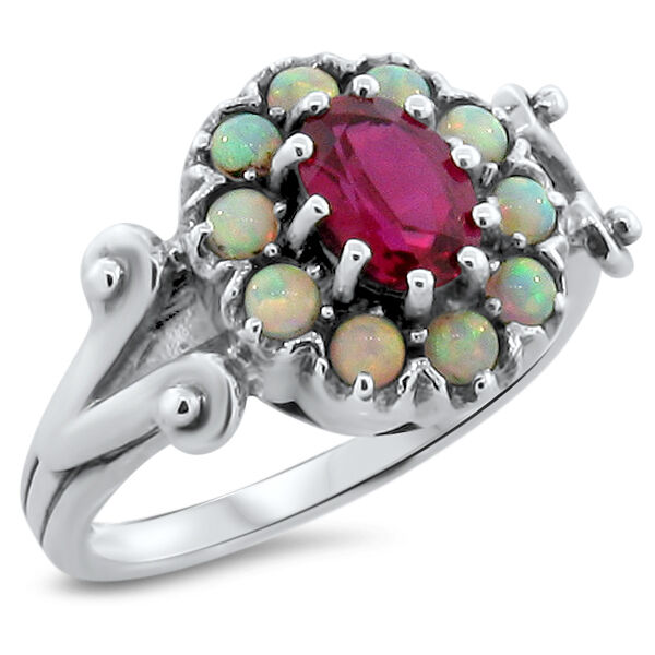 LAB RUBY & OPAL ANTIQUE VICTORIAN DESIGN 925 STERLING SILVER RING SIZE 8,   #205