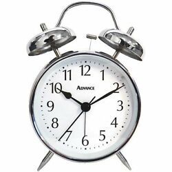 QUARTZ ANALOG TWIN BELL ALARM CLOCK - BATTERY OPERATED - FREE SHIPPING