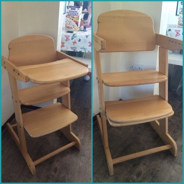 wooden grow with your child high chair in wimborne