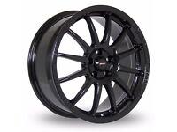 "18"" Team Dynamics Pro Race 1.2 Gloss Black for 5x112 VW Audi Seat Etc"