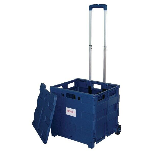"Office Depot Mobile Folding Cart With Lid, 16""H x 18""W x 15""D, Blue"