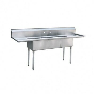 Commercial 90 Stainless Steel 3 Bay Sink With 18 Drainboards Nsf