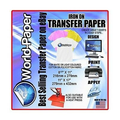 Tshirt Inkjet Iron On Heat Transfer Paper For Light Garments 8.5x11 65 Sh Drl