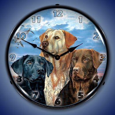 New 3 Labrador Retriever Dogs LED LIGHT UP clock hunting labs Fast Ship USA Made
